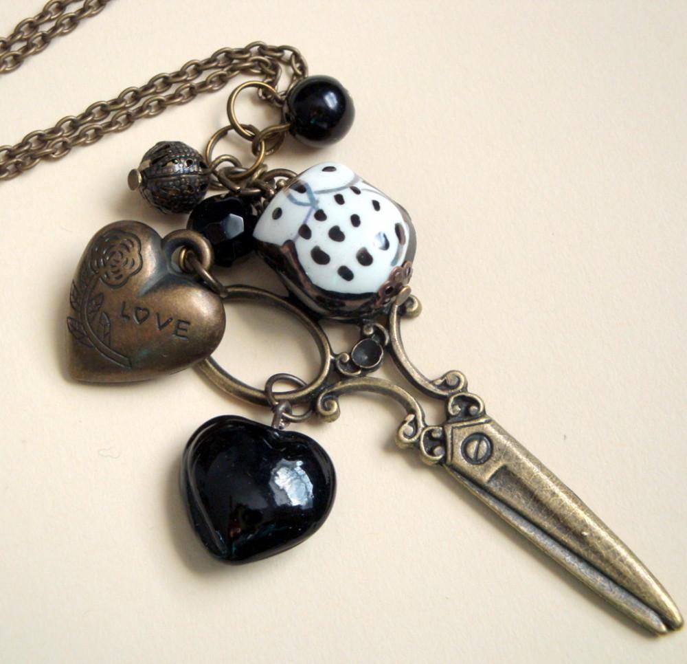 Antique bronze scissors & china owl charm necklace VN062