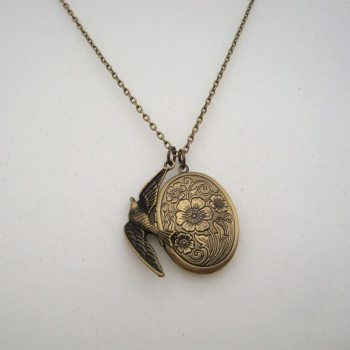 Antique bronze bird & locket vintage style necklace VN048