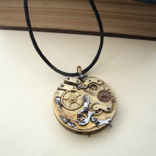 Steampunk pocket watch movement necklace on cord SN108