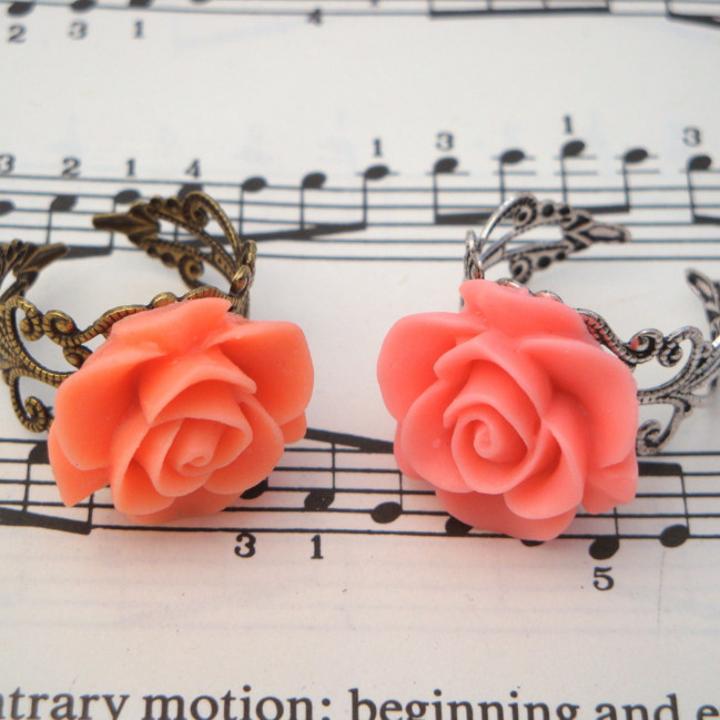 Vintage inspired rose ring on filigree base - salmon pink