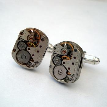 Steampunk cufflinks with vintage watch movements torch soldered SC068