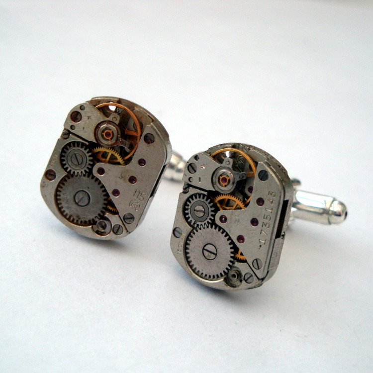 Steampunk cufflinks with vintage watch movements torch soldered SC068