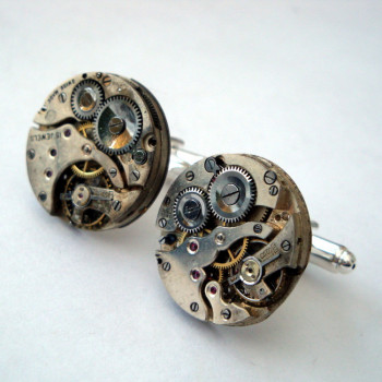 Steampunk cufflinks with torch soldered vintage watch movements SC069