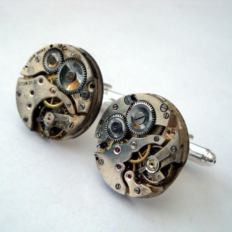 Steampunk cufflinks with torch soldered vintage watch movements SC069