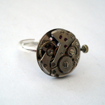 Steampunk ring with watch movement torch soldered on silver base SR065