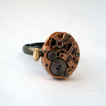 Steampunk ring with torch soldered 21 jewel watch movement SR066