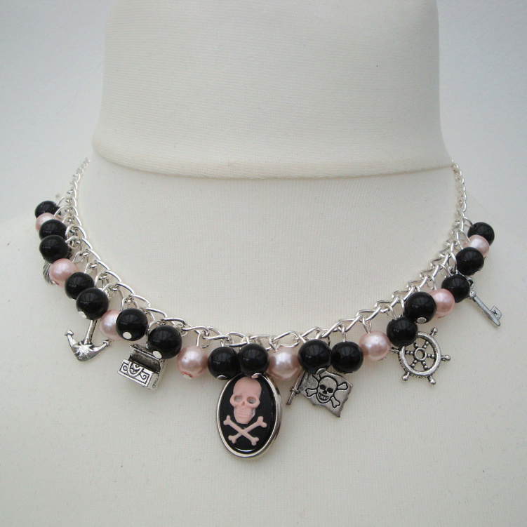 Pirate charm necklace with cameo, pink and black beads PN146