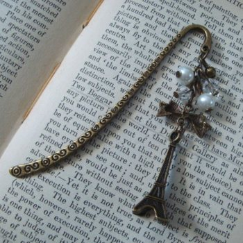Bookmark in ivory & bronze with Eiffel Tower charm BM001