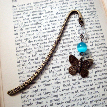 Beaded bookmark in turquoise & bronze with butterfly charm BM002