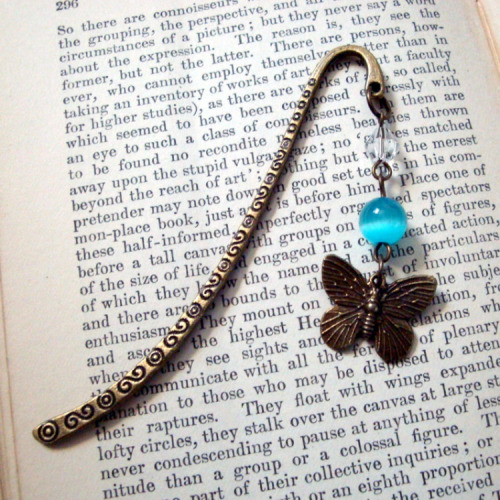 Bookmark in turquoise & bronze with butterfly charm BM002