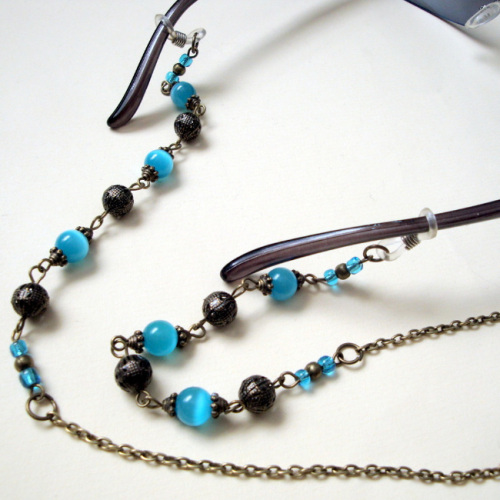 Beaded glasses chain in bronze & turquoise vintage style GC005
