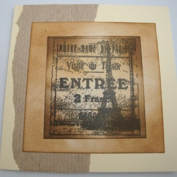 Vintage Paris Eiffel Tower handmade card C012