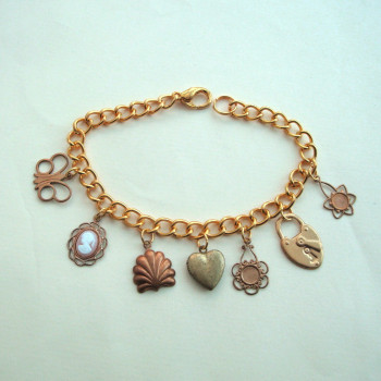 Vintage brass charms bracelet - locket, cameo & butterfly VCB018