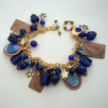 'Starry Night' handmade vintage charm bracelet VCB016