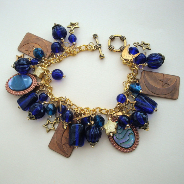'Starry Night' handmade vintage charm bracelet Van Gogh inspired one off design VCB016