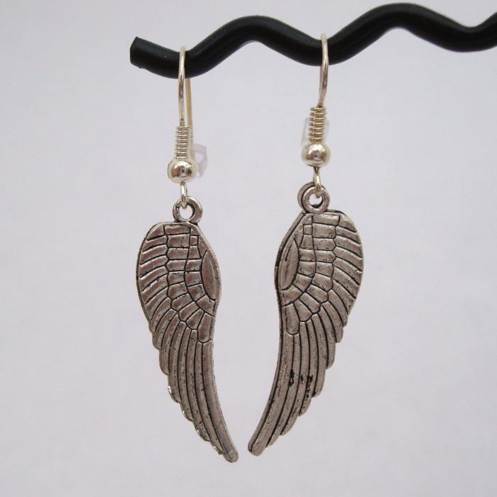 Vintage style large silver angel wing earrings VE007