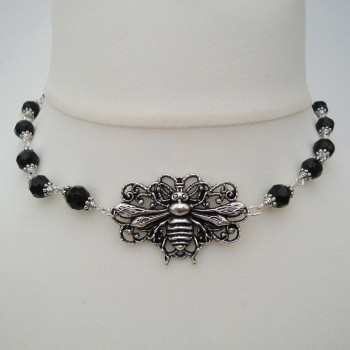 Vintage inspired silver bee beaded choker necklace VN084