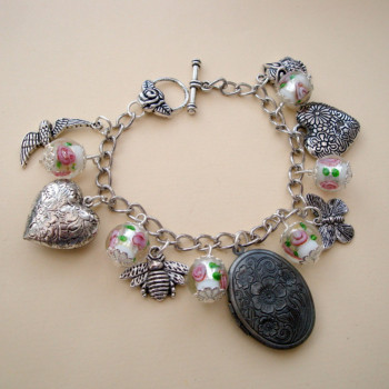 Birds & Bees locket charm bracelet CCB049