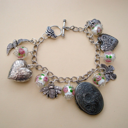 CCB049 Birds & Bees locket charm bracelet
