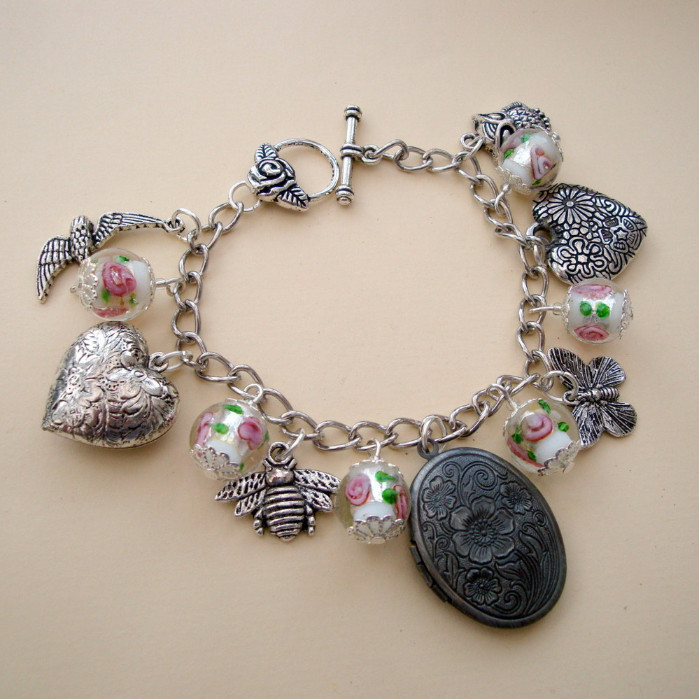 Birds & Bees charm bracelet with locket and silver hearts CCB049