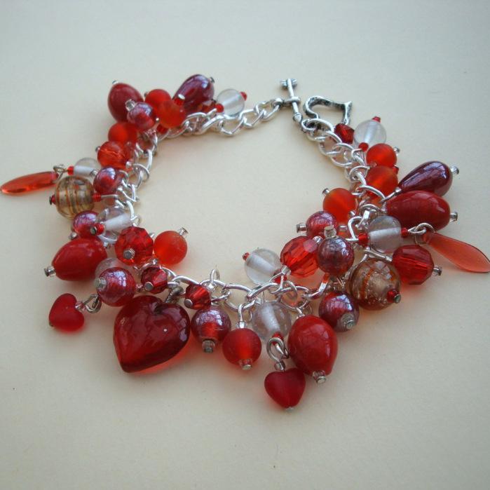 Ruby Heart handmade red beads charm bracelet CCB013