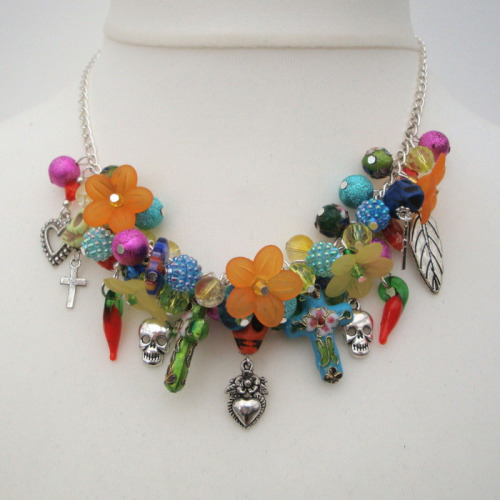 Mexican Day of the Dead inspired charm necklace CN081