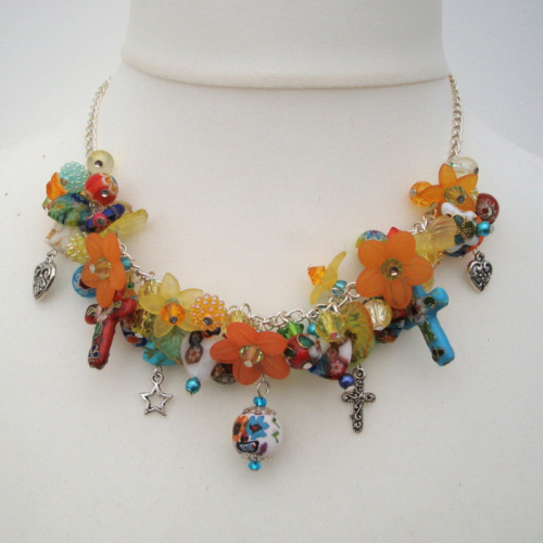 CN075 Mexican Day of the Dead inspired necklace
