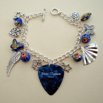 Blue plectrum charm bracelet CCB029
