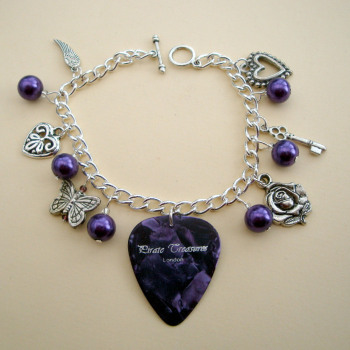 Purple plectrum and beads charm bracelet CCB030