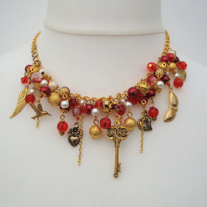 Red and gold vintage statement charm necklace CN079