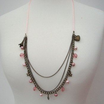 Pink beads & Bronze charms necklace JN003