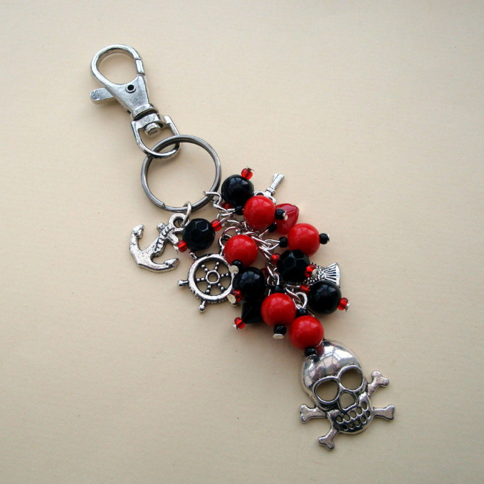 PBG035 Red & black pirate bag charm