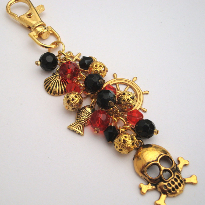 PBG039 Gold, Red & black pirate bag charm