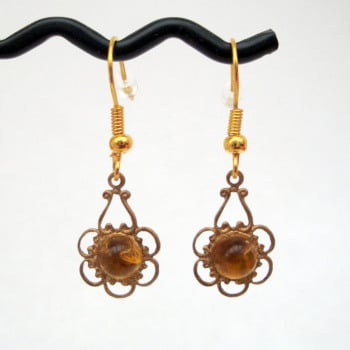 Vintage brass & citrine charm earrings VE003
