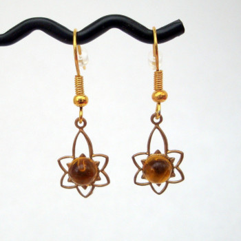 Vintage brass & citrine charm earrings VE004