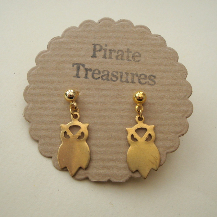 Vintage style brass owl earrings VE025