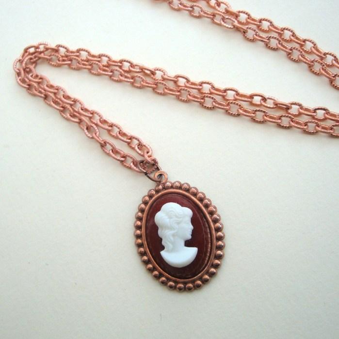 Vintage copper Cameo necklace VN005