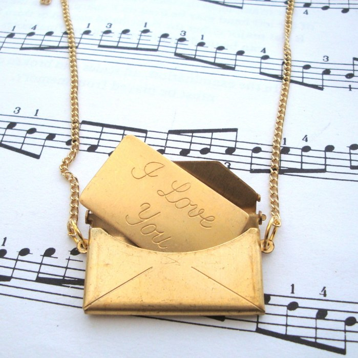 Vintage brass 'I Love You' envelope necklace VN025
