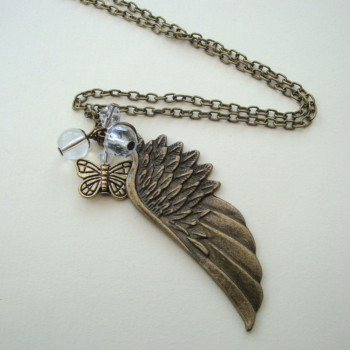 Vintage inspired bronze angel wing necklace with butterfly VN099