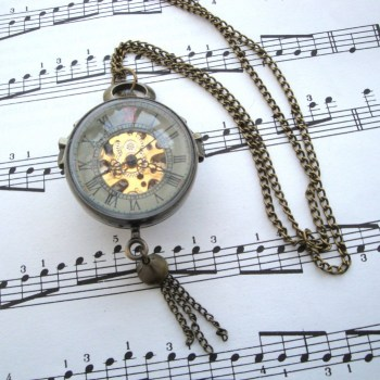 Vintage inspired mechanical watch pendant necklace VN104