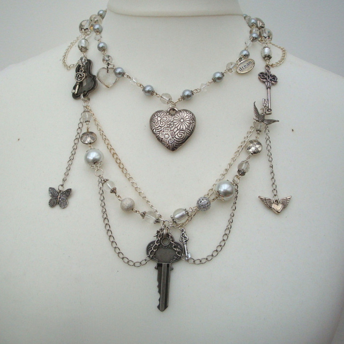 Vintage inspired layered charm necklace VN105