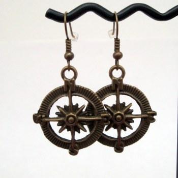 Antique bronze compass charm earrings PE047
