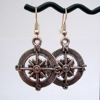 Silver compass charm earrings PE045