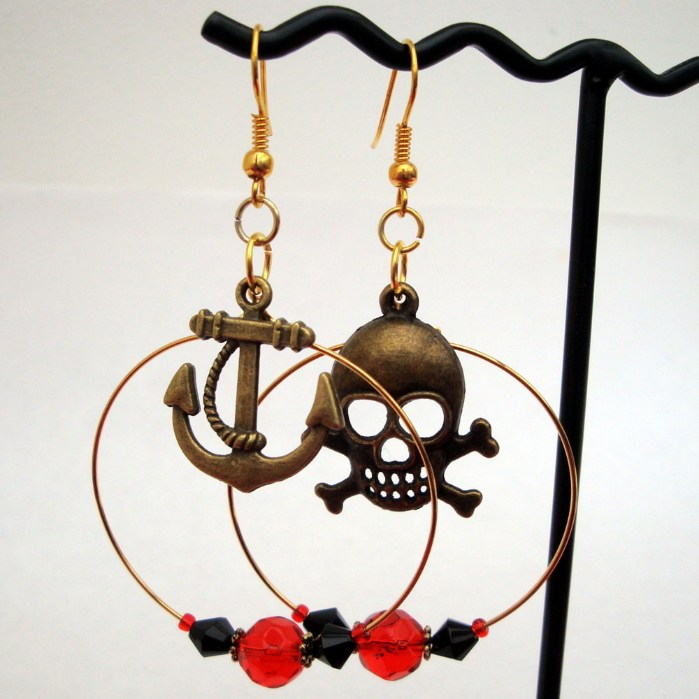 Pirate skull & crossbones hoop earrings PE044