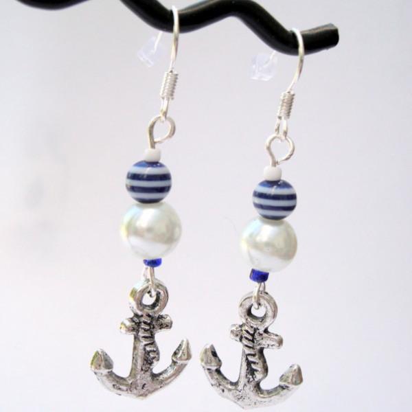 PE041 Nautical anchor pirate charm earrings