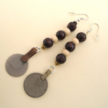 PE033 Wooden beads & coin pirate earrings