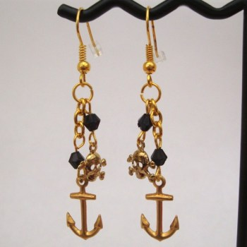 Pirate anchor + skull & crossbones charm drop earrings PE026
