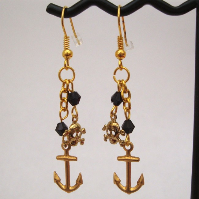 PE026 Pirate anchor + skull & crossbones charm drop earrings
