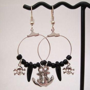 Black & silver pirate hoop charm earrings PE023