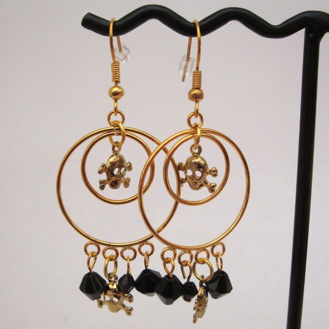 Gold double hoop pirate earrings PE022